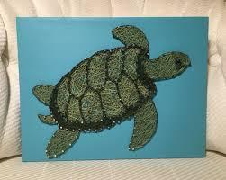 Sea Turtle Bathroom Accessories Custom Sea Turtle String Art Ocean Life Handmade Made To Order