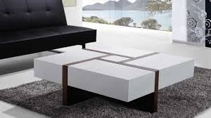 Beliani <b>Coffee Table</b> - <b>4</b> Drawers - 100 x 100 cm - White and Walnut ...