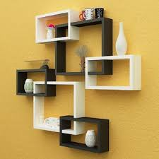 Decorative wall shelving Wooden Santosha Decor Wall Decoration Shelf Rack Set Of Intersecting Floating Shelves Storage Wall Shelves black White Shopclues Buy Santosha Decor Wall Decoration Shelf Rack Set Of Intersecting