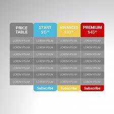 web table design. Set Offer Tariffs. Ui Ux Vector Banner For Web App. Pricing Table, Table Design