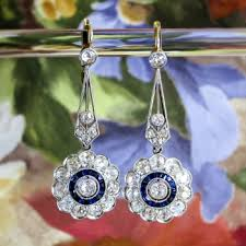 antique edwardian vintage blue sapphire diamond halo chandelier wedding earrings platinum 18k yellow gold