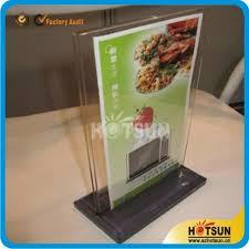 Menu Display Stands Restaurant Clear acrylic restaurant menu holder and menu display stand HS 15