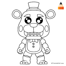 freddy s coloring page for kids how to draw freddy fazbear