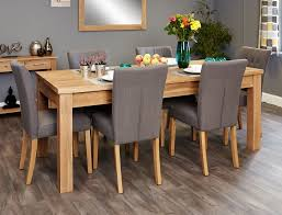 image baumhaus mobel. Baumhaus Mobel Extending Oak Dining Set With 6 Flare Back Grey Upholstered Chairs Image