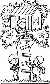 Small Picture Playing in a treehouse Free Printable Coloring Pages