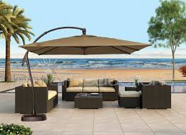 wicker patio furniture. Large Cantilever Patio Umbrella With Brown Color And Wicker Furniture