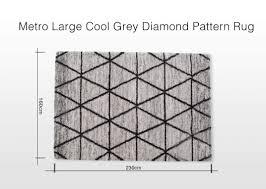 large metro cool grey diamond pattern rug 160 cm length x 230 cm