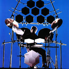 simmons electronic drum set. bill bruford playing an electronic drum kit simmons set