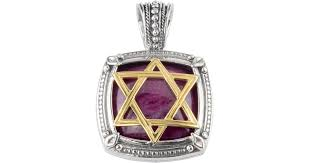 lyst konstantino men s sterling silver 18k gold star of david pendant with ruby root in metallic