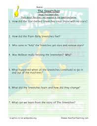 Sneetches Reading Comprehension Worksheet   Have Fun Teaching