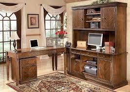 hamlyn large l shaped desk w large hutch credenza file cabinet