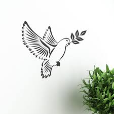 dove of peace with olive branch sticker vector