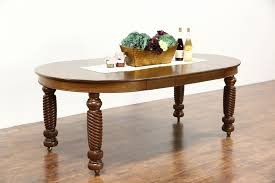 Sold 45 Round Oak Antique 1900 Dining Table 3 Leaves Spiral