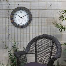 acurite 02418 14 inch faux slate indoor outdoor wall clock with thermometer hygrometer 02418a1sb