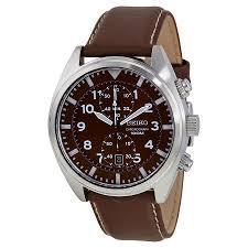 seiko chronograph brown dial men s watch snn241