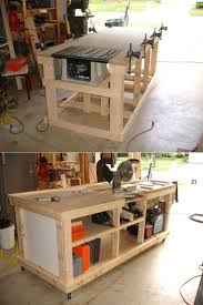 diy ultimate workbench table saw and outfeed chop saw well router table