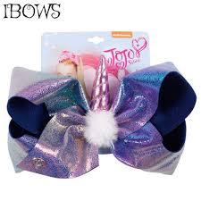 7 kids jumbo leather hair bows rainbow grant hair clips with horse horn pompom for girls hairbow handmade hair accessories malaysia