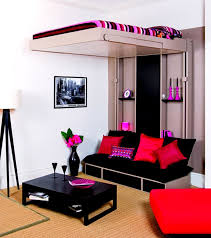 small bedroom ideas for teenage boys. Bedroom, Teen Boy Bedroom Ideas With Black Sofa And Red Cushions Plus Floor Lamp Also Small For Teenage Boys