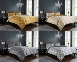 details about royal damask duvet quilt cover set bed linen double king size grey gold bedroom