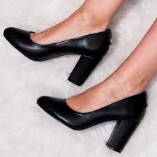 kaira block heel court shoes black leather style