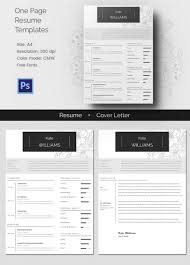 One Page Resumee Cover Letter For Microsoft Word Clean Best Free