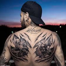 Most Outrageous Football Tattoos Neymars Superheroes Morenos Gun