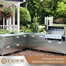 high gloss stainless steel metal portable outdoor kitchen storage cabinets sink