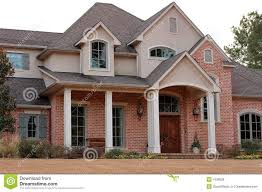 Photo about Luxurious suburban brick house in an urban subdivision - 4126926