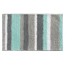 interdesign stripz microfiber bath rug 34 x 21 inch mint gray