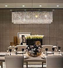 Kitchen chandelier lighting Best Ideas Image Unavailable Amazoncom Siljoy Modern Crystal Chandelier Lighting Oval Rectangular Pendant