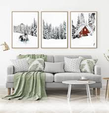 3 pieces paris tower paintings for girls bedroom canvas painting for living room wall art posters vintage home decor wall decor. Christmas Reindeer And Snowy Pine Forest 3 Piece Wall Art Seven Paper Prints