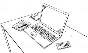 office desk laptop computer notebook mobile. Exellent Office Sketch Style Illustration Of Office Desk With Laptop Notebooks Pen And  Mobile Phone Royalty To Office Desk Laptop Computer Notebook Mobile R