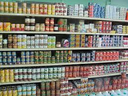 man o war cay shelves full of canned goods