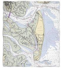 Ga Jekyll Island Ga Nautical Chart Fleece Throw
