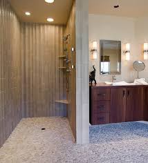 Here's a modern and unique shower with cool walls and a cool floor.