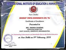 Principal Award Certificate Edify Education