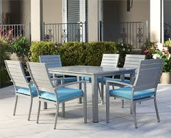 cosco outdoor s cosco outdoor living 7 piece blue veil hand painted aluminum patio furniture dining set with cushions brushed aluminum frame