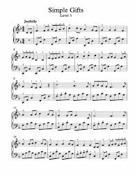 free piano arrangement sheet simple gifts level 3
