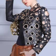 best fashion cool golden leather jacket women metal circle moto coat punk rock faux jacket jaquetas couro casaco chaquetas jacket under 51 38 dhgate com