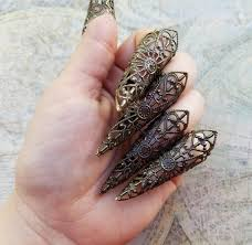 sharp finger claws. claw ring, dragon claw, finger claws, gothic vampire nails, steampunk jewelry, long sharp nail stiletto rings, cosplay nails claws c