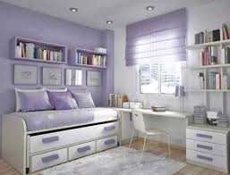 teenage room furniture. Adorable Teen Bedroom Design Idea For Girl With Soft Purple-White Wall Paint Color And Trundle Bed Simple Study Desk Shelving Unit Also Teenage Room Furniture