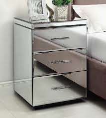 rio mirrored bedside table chest nightstand  drawer  mirror