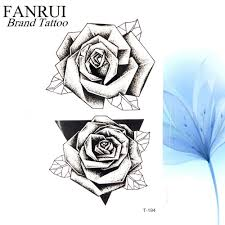 Amazoncom Summer 3d Black Triangle Rose Temporary Tattoo Women