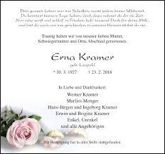 Traueranzeigen von Erna Kramer   noz Trauerportal