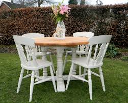 beautiful shabby chic chunky pine round farmhouse dining table and 4 chairs norfolk country chic