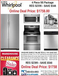 4 Piece Kitchen Appliance Set Whirlpool Discount Warehouse Kitchen Appliance Online Deals
