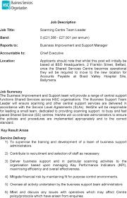 Job Description Business Improvement And Support Manager