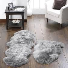 quad sheepskin rug grey