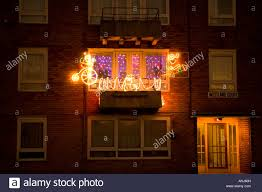 Balcony Lights Christmas Lights At Night Decorating A Balcony In A Block Of