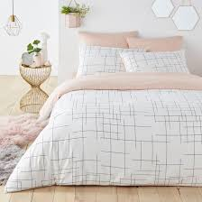 charline graphic print reversible cotton duvet cover white pink black la redoute interieurs la redoute